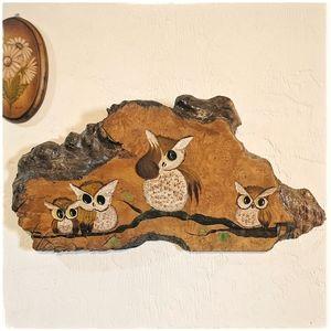 Vintage owl painting on wood burl wall hanging